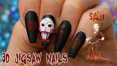 HALLOWEEN NAIL DIY - YouTube Jigsaw Halloween, 31 Days Of Halloween, Halloween Nails, Jigsaw Costume, Nail Tutorials, Nail Inspo, Toe Nails, Class Ring, Nail Designs