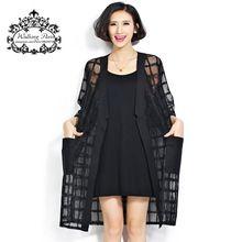 Plus Size verão estilo moda feminina de roupas longas Cardigan chegada xadrez preto impressão meia manga solta senhora casaco de Chiffon(China (Mainland))