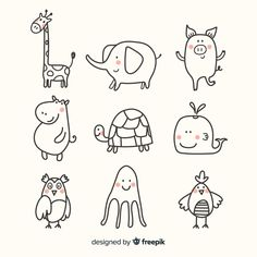 Discover thousands of free-copyright vectors on Freepik Doodle Drawings, Cartoon Drawings, Easy Drawings, Animal Drawings, Pencil Drawings, Tier Doodles, Doodles Bonitos, Cute Hippo, Easy Doodle Art