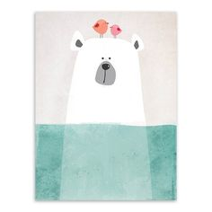 Modern Nordic Kawaii Bear Hippo Bird Animal Canvas Painting On Canvas Children Living Room Prints Poster Cartoon Wall Pictures