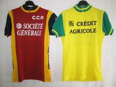 Lot-2-Maillot-cycliste-Vintage-Credit-Agricole-Societe-Generale-ancien-2