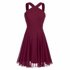 5063f3a015bb iiniim Womens Chiffon Criss-Cross Straps Evening Party Prom Gown Bridesmaid Short  Dress at Women's Clothing store: