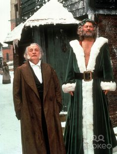 """George C. Scott (r) and Edward Woodward in the 1984 version of """"A Christmas Carol."""""""