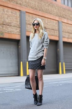 Quilted leather mini gray sweater
