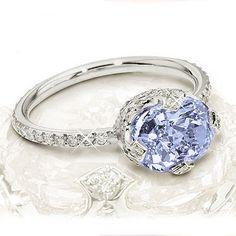 La Principessa Ring  3 ct sapphire on white gold and pav+ set diamond