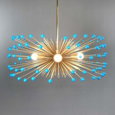 _hover aqua blue color beaded gold urchin chandelier on Solar Powered Lights, Solar Lights, Chandeliers, Mid Century Modern Chandelier, White Chandelier, Chandelier Lighting, Hallway Lighting, Nursery Lighting, Aqua Blue Color
