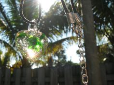 Green Heart Necklace Lampwork Glass Heart Pendant Bead Glows in the Dark Black Hemp Cord Chain South Florida Style