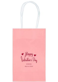 Happy Valentine's Day Medium Twisted Handled Bags