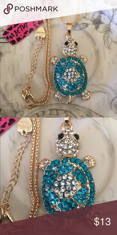 💕BJ Novelty Turtle Necklace Brand new with tag! Stunning gold tone necklace accented with silver and blue rhinestones ! This cutest Turtle is movable ! Betsey Johnson Jewelry Necklaces