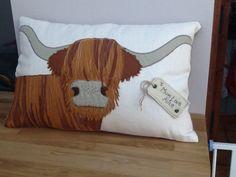 Highland cow bespoke cushion made by www.facebook/MadebyDi