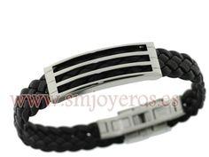 Pulsera Viceroy Fashion hombre acero y piel negra  REFERENCIA: 2171P01010  Fabricante: Viceroy