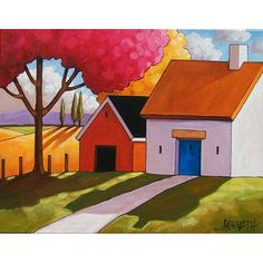 PAINTING ORIGINAL Folk Art Red Barn White Cottage Modern Landscape Contemporary Scenery Acrylic Paint on Canvas SoloWorkStudio Horvath 14x18