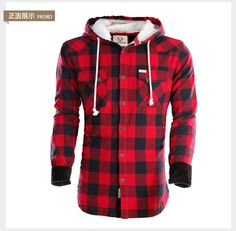 Group] promote new winter men's jackets discount 95% cotton velvet hooded plaid shirt single row of thick sweater coat male tide