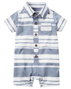 Baby Boy Striped Romper from Carters.com. Shop clothing & accessories from a trusted name in kids, toddlers, and baby clothes.