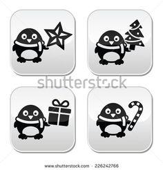 Christmas cute penguin vector buttons set by RedKoala #xmas