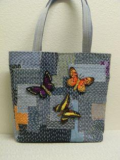 Denim Boro Bag with Butterflies Applique by AllasOriginals
