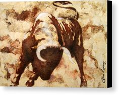 Fight Bull Canvas Print by J- J- Espinoza. All canvas prints are professionally printed, assembled, and shipped within 3 - 4 business days and delivered ready-to-hang on your wall. Choose from multiple print sizes, border colors, and canvas materials.