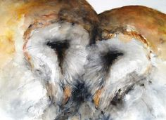 This is so beautiful! Barn Owls in watercolour by Ken Sohn. See all of his available owls here --> http://Find-this.at/etsy.com/Ken-Sohn-owls