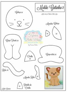 felt toys New Sewing Toys Patterns Christmas Ideas Felt Animal Patterns, Stuffed Animal Patterns, Stuffed Animals, Felt Templates, Applique Templates, Applique Patterns, Card Templates, Felt Cat, Felt Christmas Ornaments