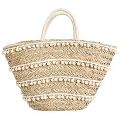 Fallon Royce Malia Woven Seagrass Tote Natural w/ Bone Poms ($118) ❤ liked on Polyvore featuring bags, handbags, tote bags, purses, woven tote bags, man bag, tote bag purse, beach bag and woven purse