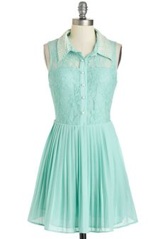 Go Get 'Em, Pearl Dress - Sheer, Short, Mint, Solid, Lace, Pearls, Casual, A-line, Sleeveless, Collared, Buttons, Pleats, Daytime Party, Pastel, Shirt Dress, Spring