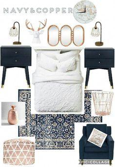 Beautiful trendy copper gold rose chic bedroom blue navy pops of color decor creek villas 1 Blue And Gold Bedroom, Gold Bedroom Decor, Navy Copper Bedroom, Bedroom Ideas, Quirky Bedroom, Budget Bedroom, Bedroom Images, Bedroom Designs, Navy Bedrooms