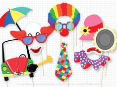 Circus Clown Photo Booth Props Photobooth Props by PaperBuiltShop