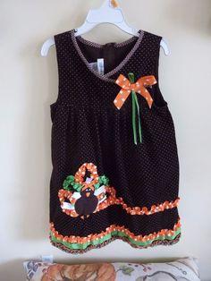 3d712139358 Bonnie Jean SIZE 6 Brown Corduroy Turkey Ribbon Dress Jumper  Thanksgiving~NWOT #BonnieJean #DressyHoliday