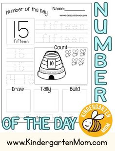 Free 30 Page Pack!  Number of the Day is a simple way to build key math skills for preschool and kindergarten.  Includes Written Number, Number Word, Numeral, Counting, Drawing, Tally,Building (with blocks), and a Number Line: http://kindergartenmom.com/k