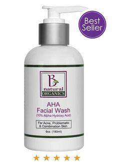 AHA Facial Wash is an organic skin care product that works to fight acne. Includes 10% Glycolic Acid #OrganicSkinCareIdeas
