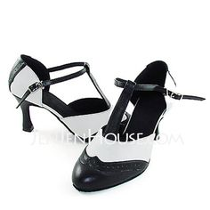 Women's Real Leather Heels Modern With T-Strap Dance Shoes (053013131)