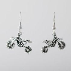 Dirt Bike Earrings  Earrings w/Dirt Bike Charm   by GunmetalGems, $10.00... Super cute present for Ronnie to get you!