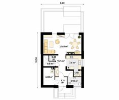 Lilia mały nowoczesny i energooszczędny dom - Jesteśmy AUTOREM - DOMY w Stylu Sliders, 1, Floor Plans, Modern, House, Home, Haus, Floor Plan Drawing, Houses