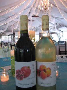 Personal labels on wine at Reception