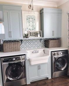modern farmhouse laundry room with laundry room organization, laundry room storage, neutral laundry room with open shelves with farmhouse sink and cement tile backsplash Laundry Room Remodel, Laundry Room Cabinets, Laundry Room Organization, Laundry Room Design, Laundry In Bathroom, Organization Ideas, Blue Cabinets, Diy Cabinets, Laundry Room Colors