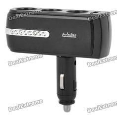 Triple Car Cigarette Sockets Power Adapter with USB Power Port - Black (DC 12~24V)