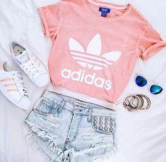 adidas tshirt w/Jean shorts