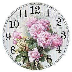 Clock faces – Mukerrem – Join the world of pin Clock Craft, Diy Clock, Decoupage Vintage, Decoupage Paper, Clock Face Printable, Shabby Chic Clock, Clock Wallpaper, Clock Flower, Vintage Flowers Wallpaper