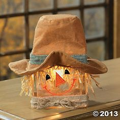 Scarecrow Glass Block Lamp - Terry's Village Holiday Decor