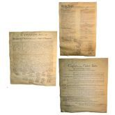 Charters Of Freedom include the Declaration of Independence, the Bill Of Rights and the Constitution of the United States. Dimensions: The Declaration is about 18.25 inches by 12.14 inches, the Constitution and Bill of Rights are about 15.5 inches by 13.5 inches. This parchment sets feature three historically significant documents suitable for framing. Perfect for school projects or for any history buff.