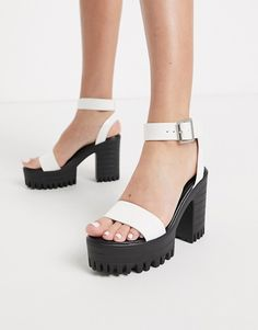 Shop Public Desire Avenue chunky cleated platform block heel sandal in white. With a variety of delivery, payment and return options available, shopping with ASOS is easy and secure. Shop with ASOS today. Chunky Heel Platform Sandals, Platform Block Heels, Chunky Heels, Baskets, Asos, Public Desire, Open Toe, Ankle Strap, Going Out