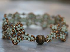Hand Beaded Seafoam Green brown and Bronze Bracelet by pjlacasse, $95.00