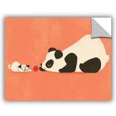 "ArtWall Jay Fleck The Pug and the Panda Wall Decal Size: 18"" H x 24"" W x 0.1"" D"