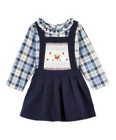 Another great find on #zulily! Blue Plaid Top & Corduroy Dress - Infant & Toddler #zulilyfinds