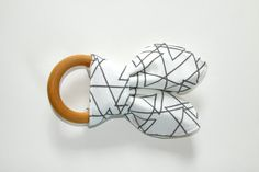 Organic Wood Teething Ring/Crinkle Toy, Geometric Triangles Organic Cotton Knit with Unbleached Organic Bamboo Terry, Ready to Ship