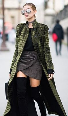 #winter #outfits / Green Velvet Coat // Wrapped Grey Skirt // Black Top // Black Over The Knee Boots