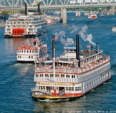 Tall Stacks Riverboat Festival, Cincinnati   Often as many as 17 or more steamboats from all the rivers converge on Cincy, give short rides, maybe one or two do overnight.  Lucky to have been there several times. Love the atmosphere.  Eve DeVinney