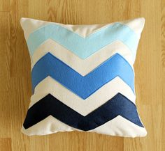 Chevron Ombré   Decorative Pillow cover  Navy  by bayanhippohome