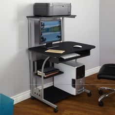 Small Compact Mobile Computer Tower with Shelf Desk Only 10 In Stock Order Today! Product Description: Get the most out of limited space with this black Mobile Computer Tower with Shelf. This steel computer desk features a sliding keyboard area. Mobile Computer Desk, Computer Desks For Home, Computer Desk With Hutch, Pc Desk, Computer Laptop, Computer Cart, Corner Desk, Home Office Space, Home Office Furniture