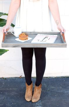 driftwood + leather breakfast tray: handmade, solid wood, couples gift  This hand-crafted tray has leather straps for transport  Great for serving